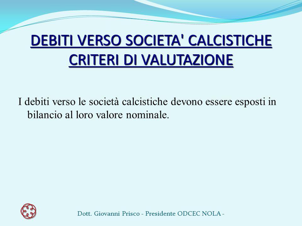DEBITI VERSO SOCIETA' CALCISTICHE CRITERI DI VALUTAZIONE I debiti verso le società calcistiche devono essere esposti in bilancio al loro valore nomina
