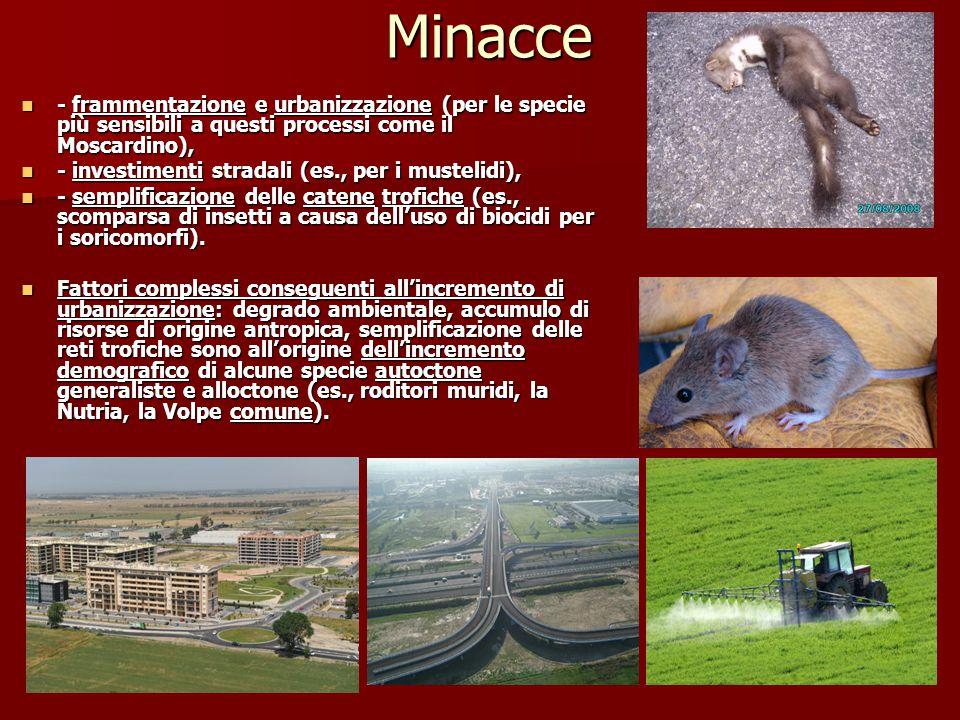 Minacce - frammentazione e urbanizzazione (per le specie più sensibili a questi processi come il Moscardino), - frammentazione e urbanizzazione (per l