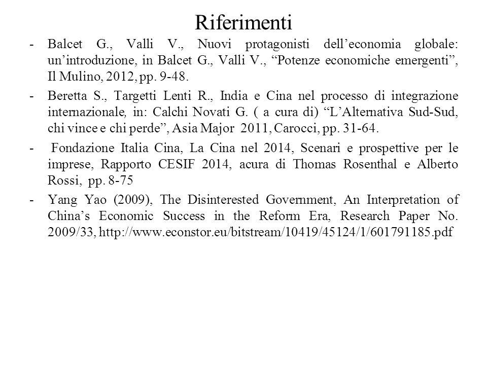 """Riferimenti -Balcet G., Valli V., Nuovi protagonisti dell'economia globale: un'introduzione, in Balcet G., Valli V., """"Potenze economiche emergenti"""", I"""