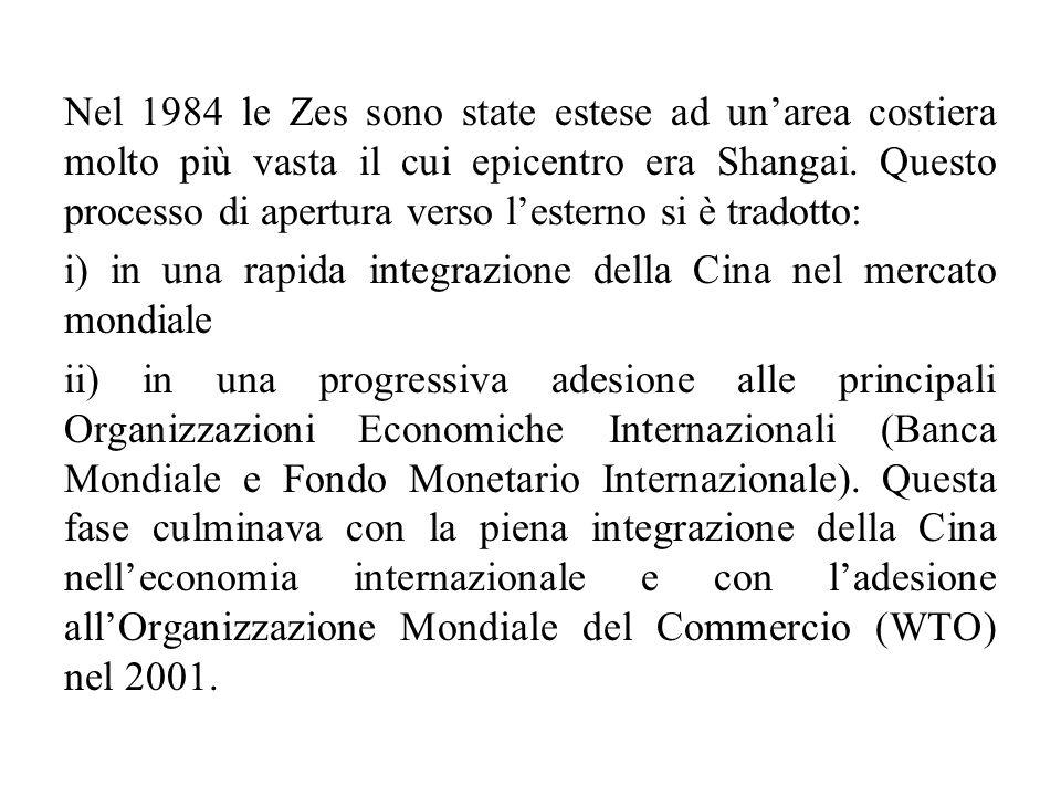 Nel 1984 le Zes sono state estese ad un'area costiera molto più vasta il cui epicentro era Shangai. Questo processo di apertura verso l'esterno si è t