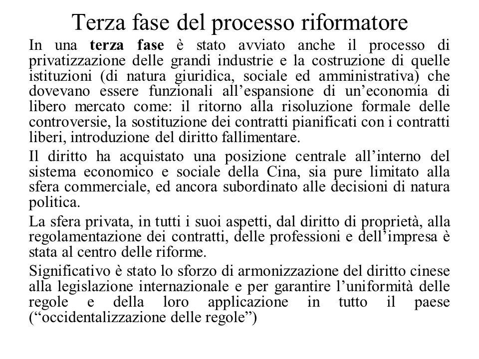 Terza fase del processo riformatore In una terza fase è stato avviato anche il processo di privatizzazione delle grandi industrie e la costruzione di