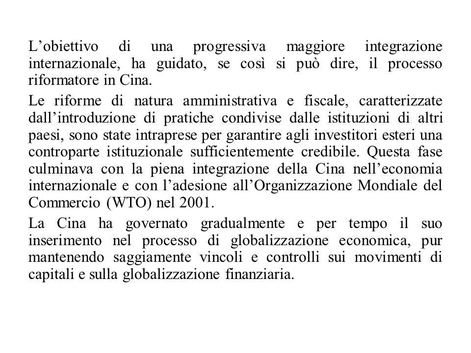 L'obiettivo di una progressiva maggiore integrazione internazionale, ha guidato, se così si può dire, il processo riformatore in Cina. Le riforme di n