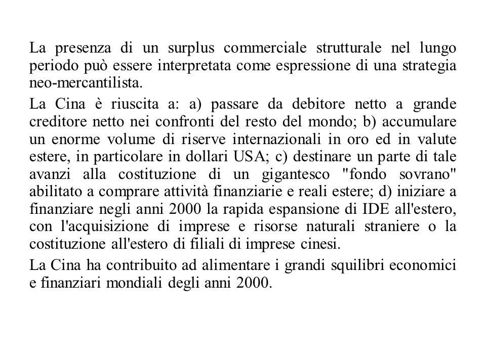 La presenza di un surplus commerciale strutturale nel lungo periodo può essere interpretata come espressione di una strategia neo-mercantilista. La Ci