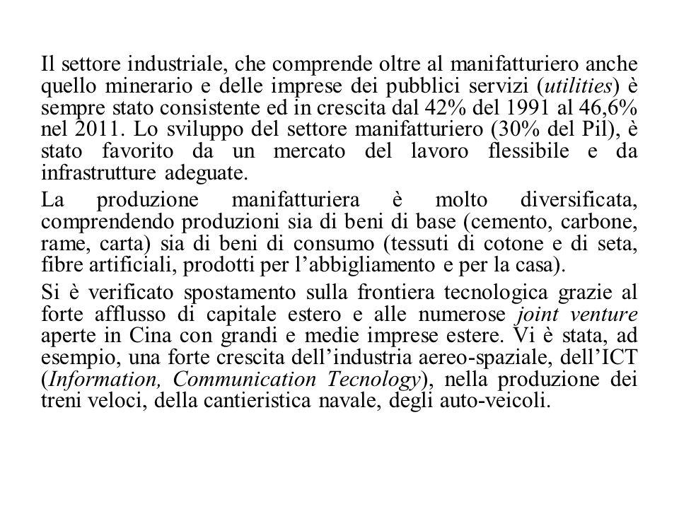 Il settore industriale, che comprende oltre al manifatturiero anche quello minerario e delle imprese dei pubblici servizi (utilities) è sempre stato c