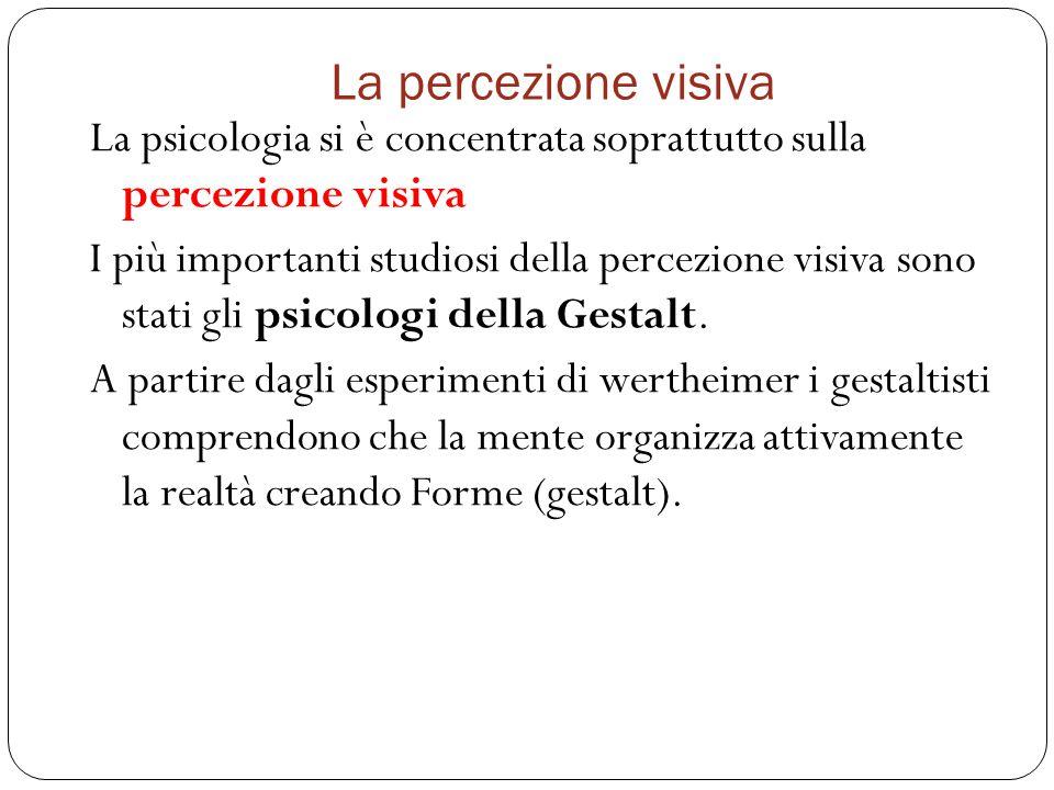 La percezione visiva La psicologia si è concentrata soprattutto sulla percezione visiva I più importanti studiosi della percezione visiva sono stati gli psicologi della Gestalt.