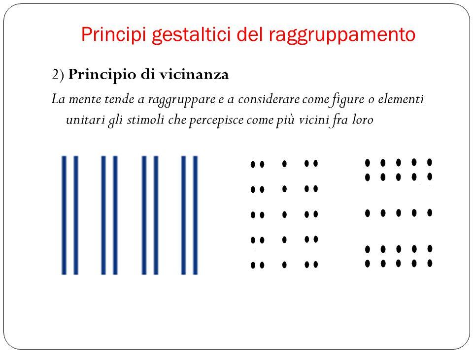 2) Principio di vicinanza La mente tende a raggruppare e a considerare come figure o elementi unitari gli stimoli che percepisce come più vicini fra loro
