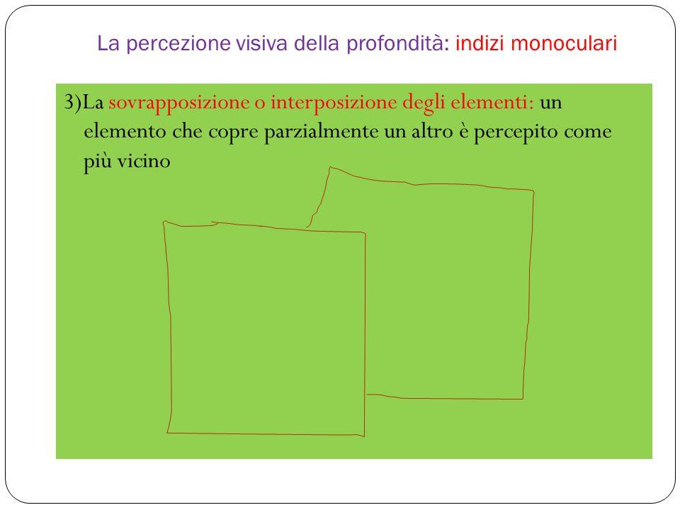 La percezione visiva della profondità: indizi monoculari 3)La sovrapposizione o interposizione degli elementi: un elemento che copre parzialmente un altro è percepito come più vicino