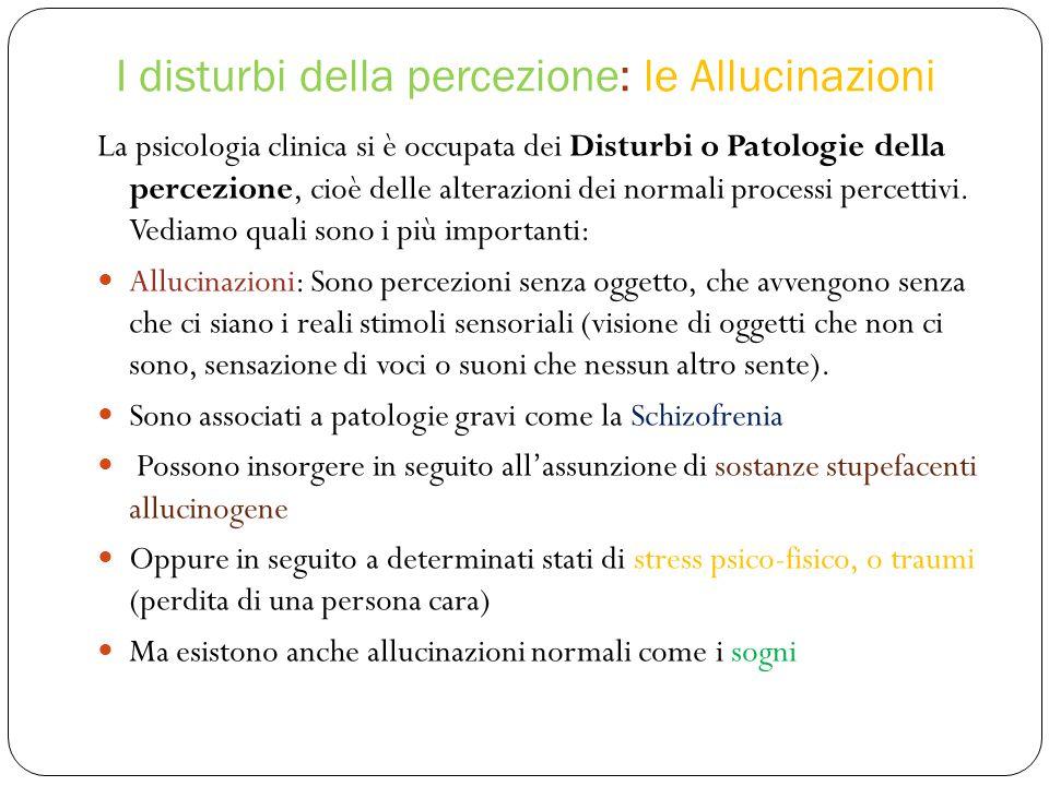 I disturbi della percezione: le Allucinazioni La psicologia clinica si è occupata dei Disturbi o Patologie della percezione, cioè delle alterazioni dei normali processi percettivi.