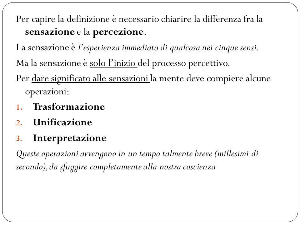Per capire la definizione è necessario chiarire la differenza fra la sensazione e la percezione.