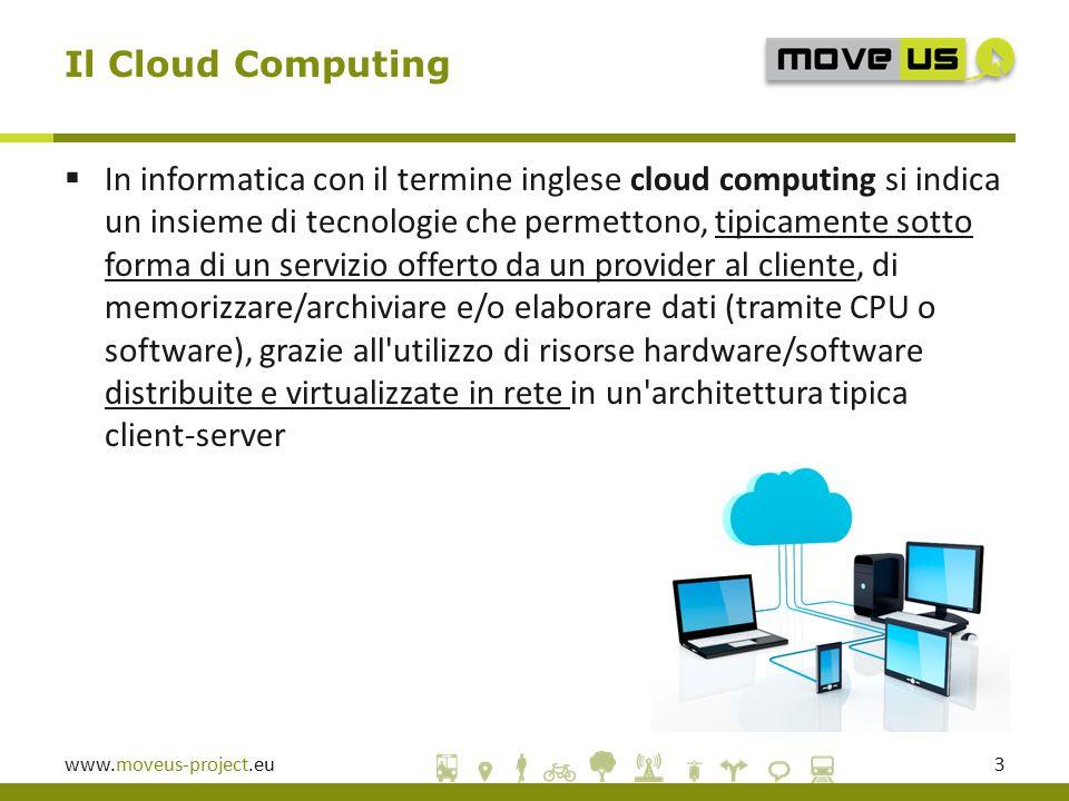 www.moveus-project.eu4  Infrastructure as a Service: il provider mette a disposizione una infrastruttura hardware che gli utilizzatori del servizio (= system administrator) possono sfruttare per attivare/disattivare macchine virtuali (o altre risorse infrastrutturali come, per esempio, storage).