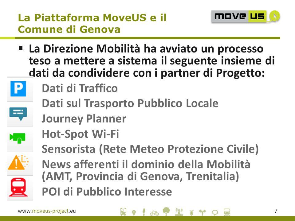 www.moveus-project.eu7  La Direzione Mobilità ha avviato un processo teso a mettere a sistema il seguente insieme di dati da condividere con i partner di Progetto:  Dati di Traffico  Dati sul Trasporto Pubblico Locale  Journey Planner  Hot-Spot Wi-Fi  Sensorista (Rete Meteo Protezione Civile)  News afferenti il dominio della Mobilità (AMT, Provincia di Genova, Trenitalia)  POI di Pubblico Interesse La Piattaforma MoveUS e il Comune di Genova