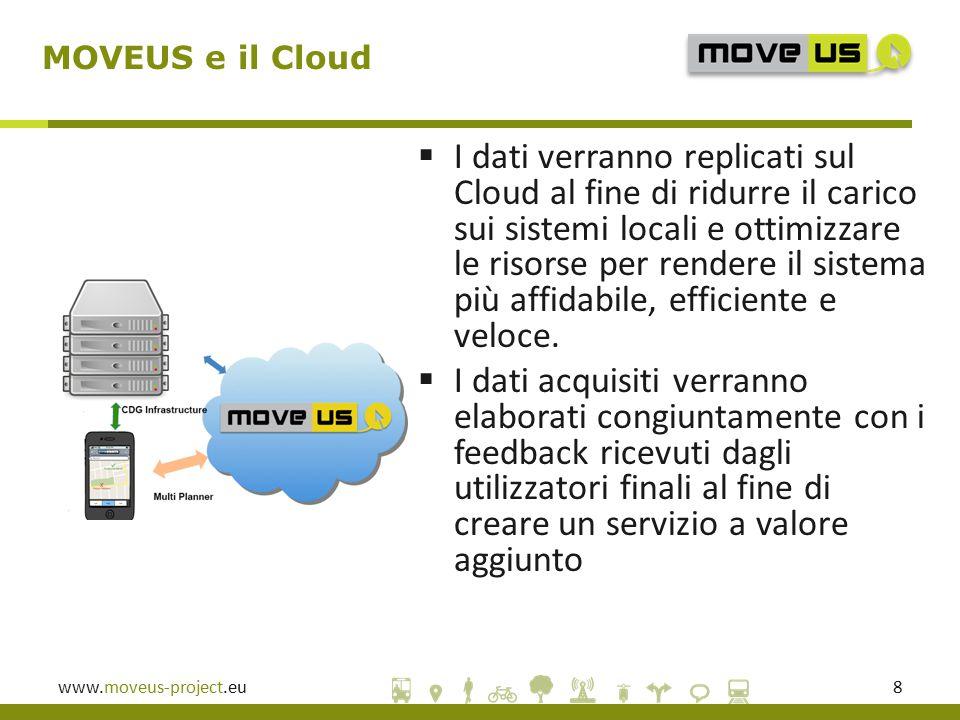 www.moveus-project.eu8  I dati verranno replicati sul Cloud al fine di ridurre il carico sui sistemi locali e ottimizzare le risorse per rendere il sistema più affidabile, efficiente e veloce.