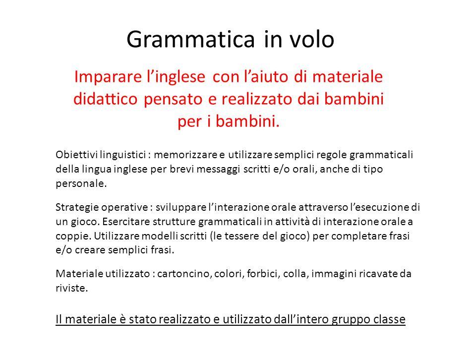 Grammatica in volo Imparare l'inglese con l'aiuto di materiale didattico pensato e realizzato dai bambini per i bambini. Obiettivi linguistici : memor