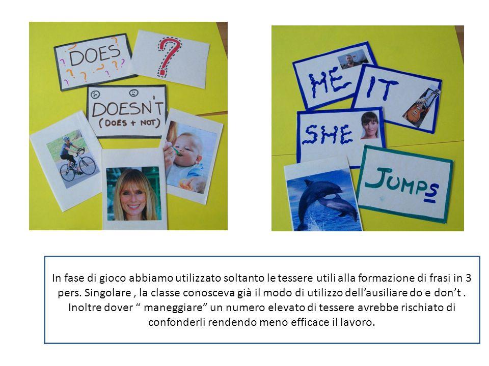 In fase di gioco abbiamo utilizzato soltanto le tessere utili alla formazione di frasi in 3 pers. Singolare, la classe conosceva già il modo di utiliz