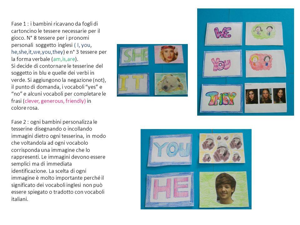 Fase 1 : i bambini ricavano da fogli di cartoncino le tessere necessarie per il gioco. N° 8 tessere per i pronomi personali soggetto inglesi ( I, you,