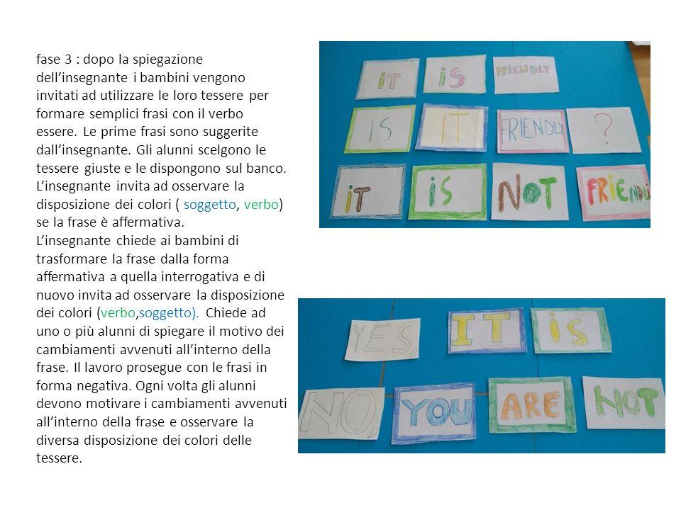 fase 3 : dopo la spiegazione dell'insegnante i bambini vengono invitati ad utilizzare le loro tessere per formare semplici frasi con il verbo essere.