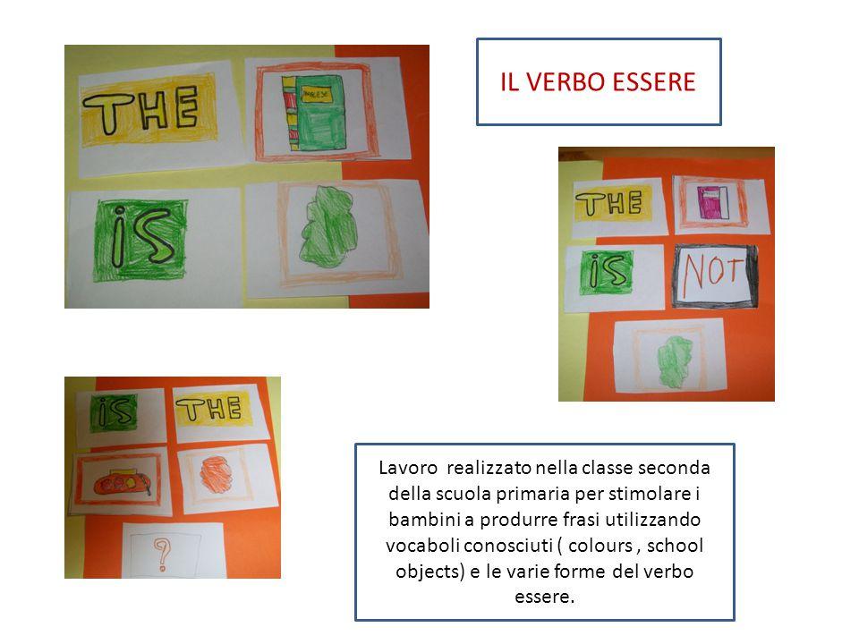 Lavoro realizzato nella classe seconda della scuola primaria per stimolare i bambini a produrre frasi utilizzando vocaboli conosciuti ( colours, schoo