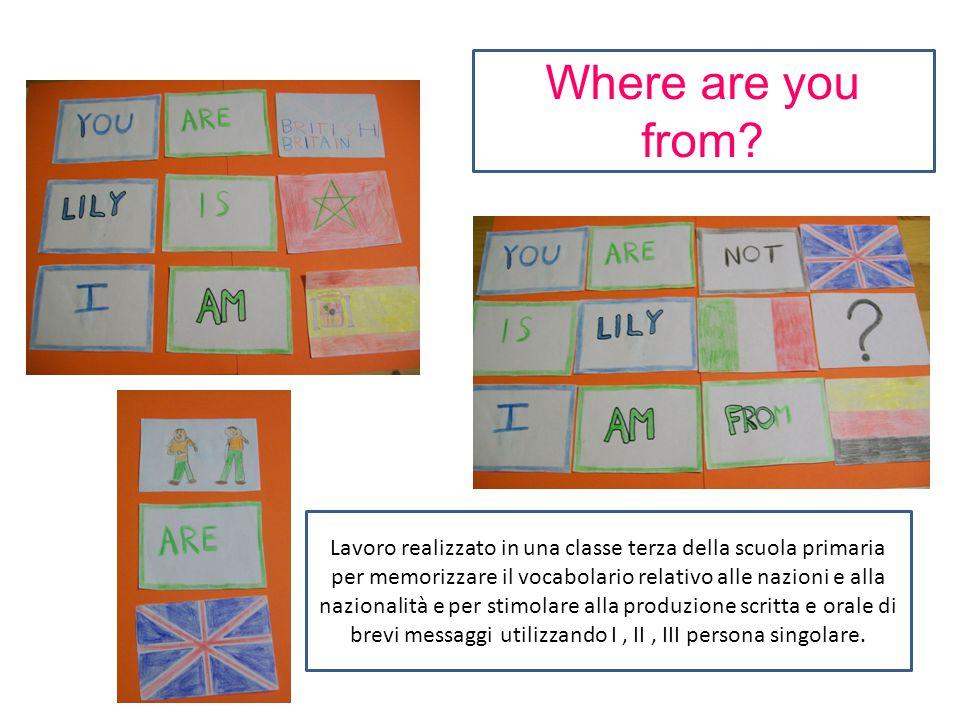 Lavoro realizzato in una classe terza della scuola primaria per memorizzare il vocabolario relativo alle nazioni e alla nazionalità e per stimolare al