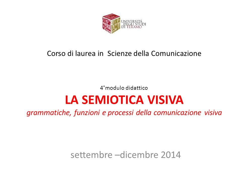 Corso di laurea in Scienze della Comunicazione 4°modulo didattico LA SEMIOTICA VISIVA grammatiche, funzioni e processi della comunicazione visiva sett