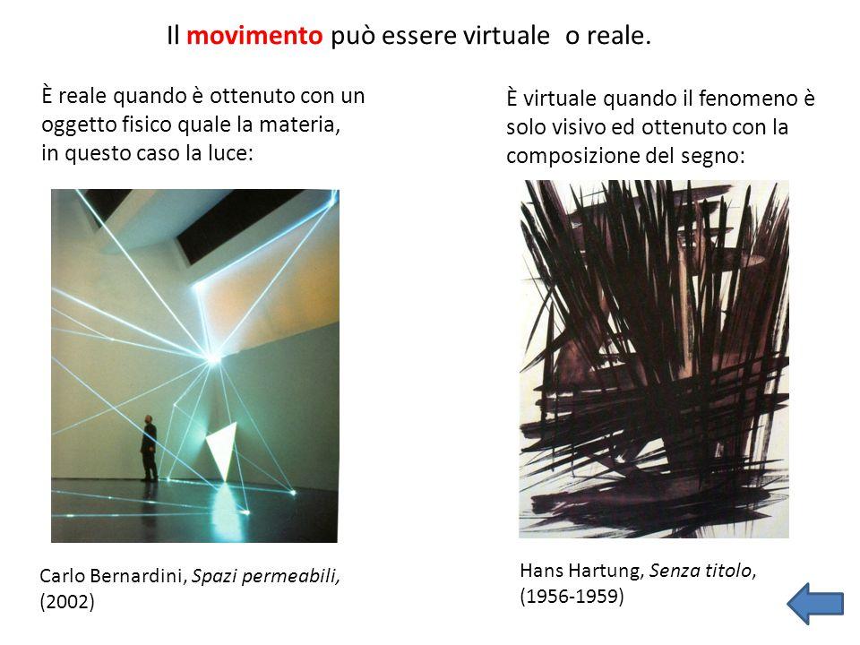Il movimento può essere virtuale o reale. È reale quando è ottenuto con un oggetto fisico quale la materia, in questo caso la luce: Hans Hartung, Senz
