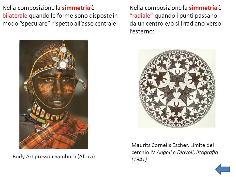 """Nella composizione la simmetria è bilaterale quando le forme sono disposte in modo """"speculare"""" rispetto all'asse centrale: Body Art presso i Samburu ("""