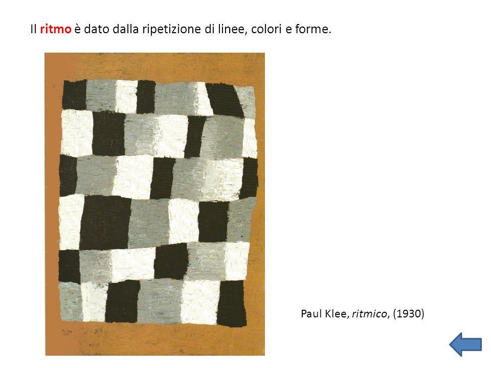 Il ritmo è dato dalla ripetizione di linee, colori e forme. Paul Klee, ritmico, (1930)