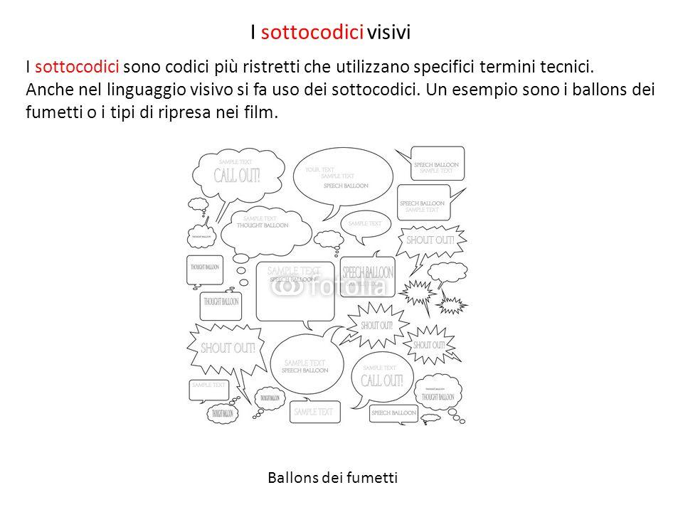 I sottocodici visivi Ballons dei fumetti I sottocodici sono codici più ristretti che utilizzano specifici termini tecnici. Anche nel linguaggio visivo