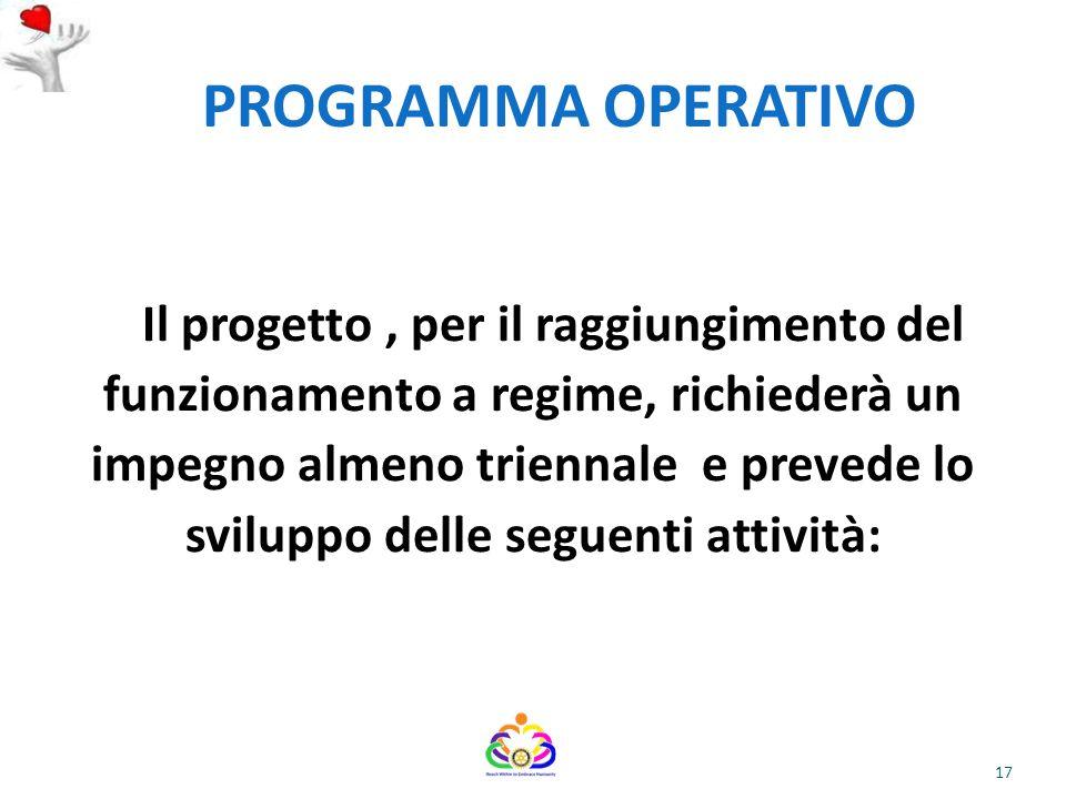 PROGRAMMA OPERATIVO Il progetto, per il raggiungimento del funzionamento a regime, richiederà un impegno almeno triennale e prevede lo sviluppo delle seguenti attività: 17