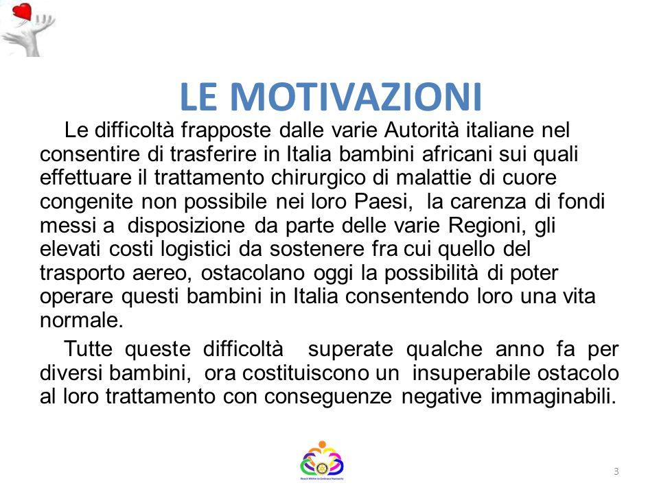 LE MOTIVAZIONI Le difficoltà frapposte dalle varie Autorità italiane nel consentire di trasferire in Italia bambini africani sui quali effettuare il t