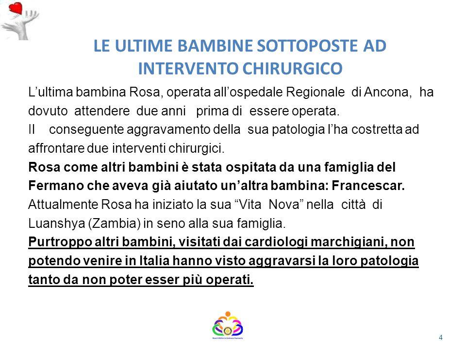 LE ULTIME BAMBINE SOTTOPOSTE AD INTERVENTO CHIRURGICO L'ultima bambina Rosa, operata all'ospedale Regionale di Ancona, ha dovuto attendere due anni prima di essere operata.