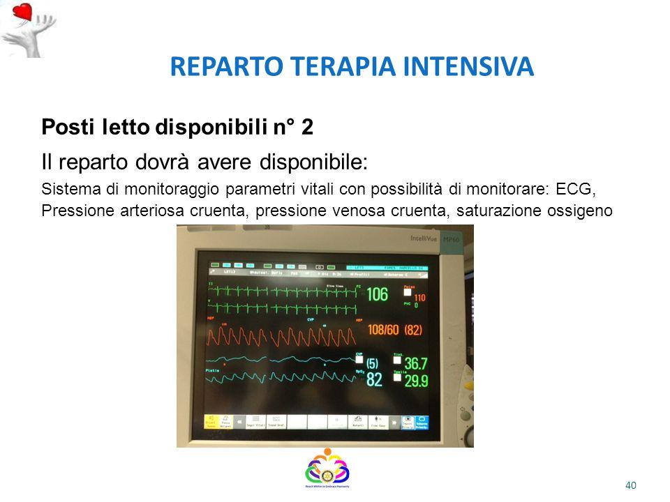 REPARTO TERAPIA INTENSIVA Posti letto disponibili n° 2 Il reparto dovrà avere disponibile: Sistema di monitoraggio parametri vitali con possibilità di
