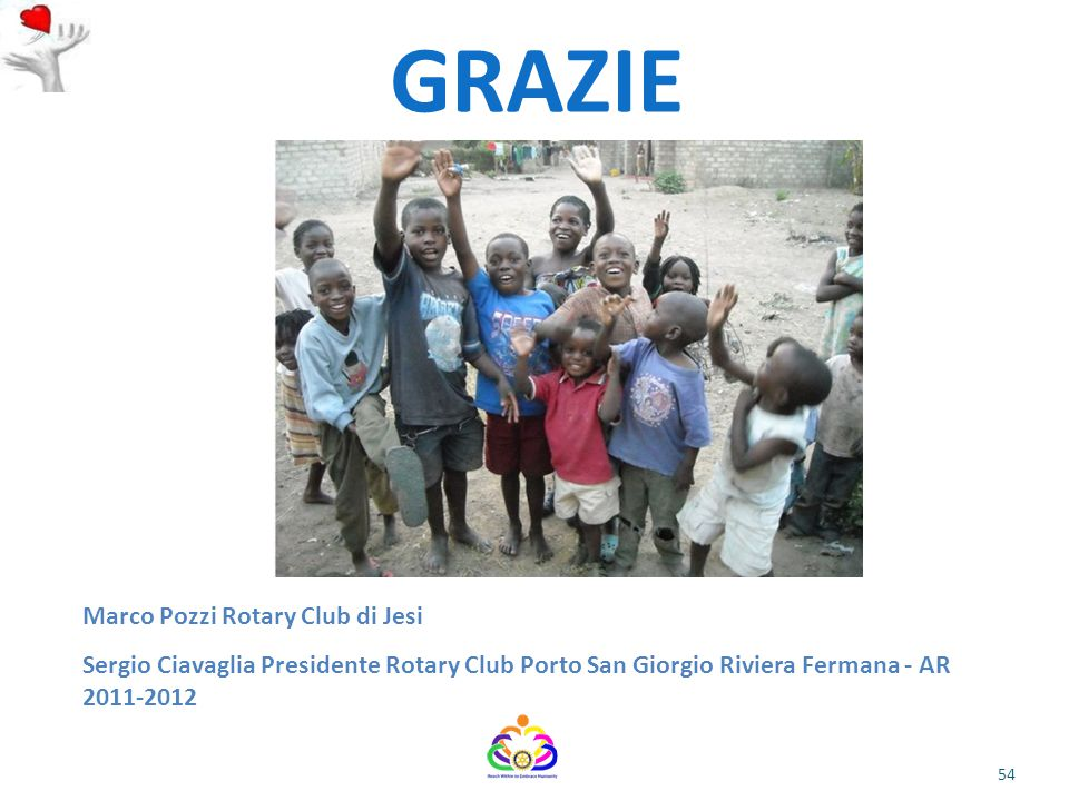 54 GRAZIE Marco Pozzi Rotary Club di Jesi Sergio Ciavaglia Presidente Rotary Club Porto San Giorgio Riviera Fermana - AR 2011-2012