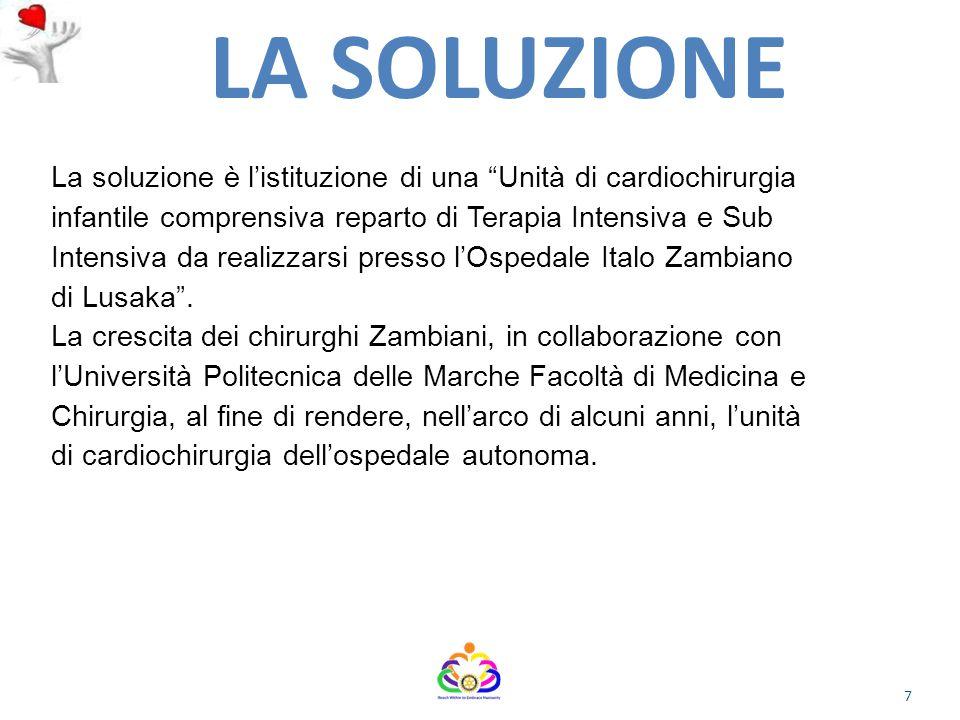 La soluzione è l'istituzione di una Unità di cardiochirurgia infantile comprensiva reparto di Terapia Intensiva e Sub Intensiva da realizzarsi presso l'Ospedale Italo Zambiano di Lusaka .
