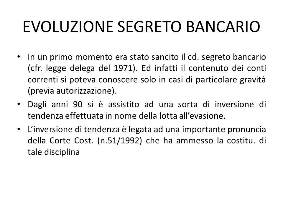 EVOLUZIONE SEGRETO BANCARIO In un primo momento era stato sancito il cd. segreto bancario (cfr. legge delega del 1971). Ed infatti il contenuto dei co