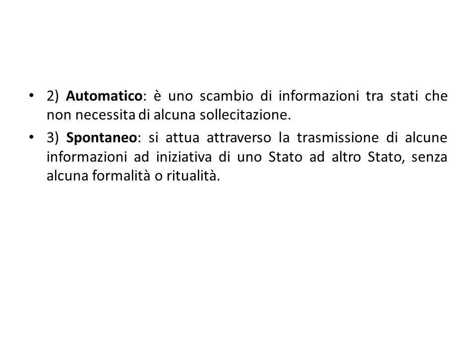 2) Automatico: è uno scambio di informazioni tra stati che non necessita di alcuna sollecitazione. 3) Spontaneo: si attua attraverso la trasmissione d