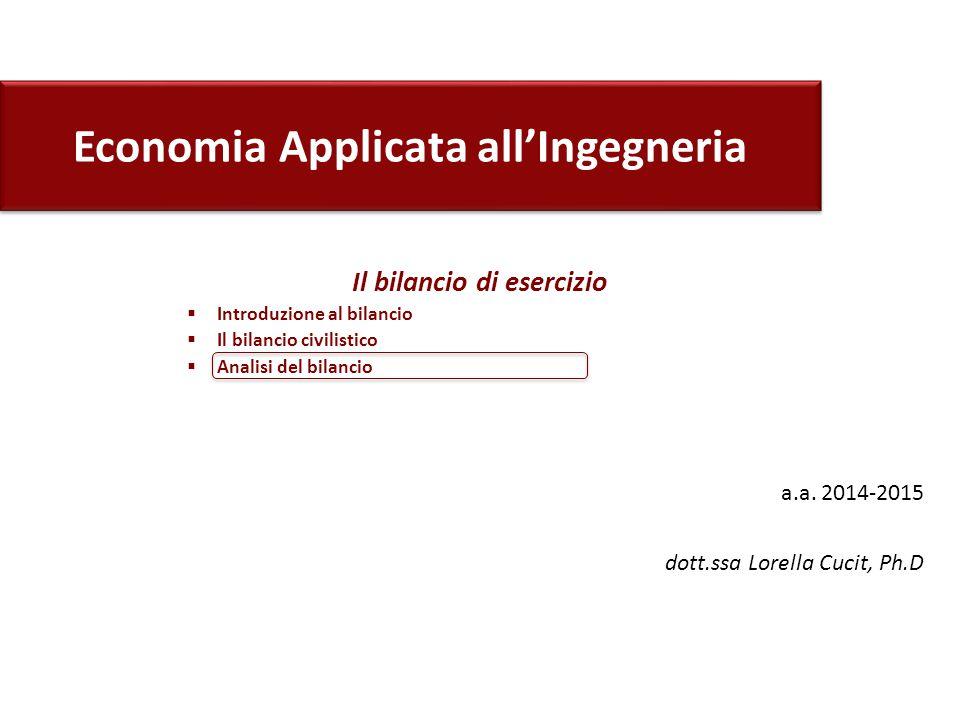 Economia Applicata all'Ingegneria a.a. 2014-2015 dott.ssa Lorella Cucit, Ph.D Il bilancio di esercizio  Introduzione al bilancio  Il bilancio civili