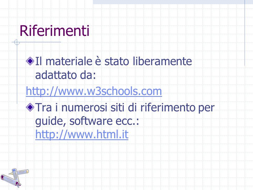 Riferimenti Il materiale è stato liberamente adattato da: http://www.w3schools.com Tra i numerosi siti di riferimento per guide, software ecc.: http://www.html.it http://www.html.it