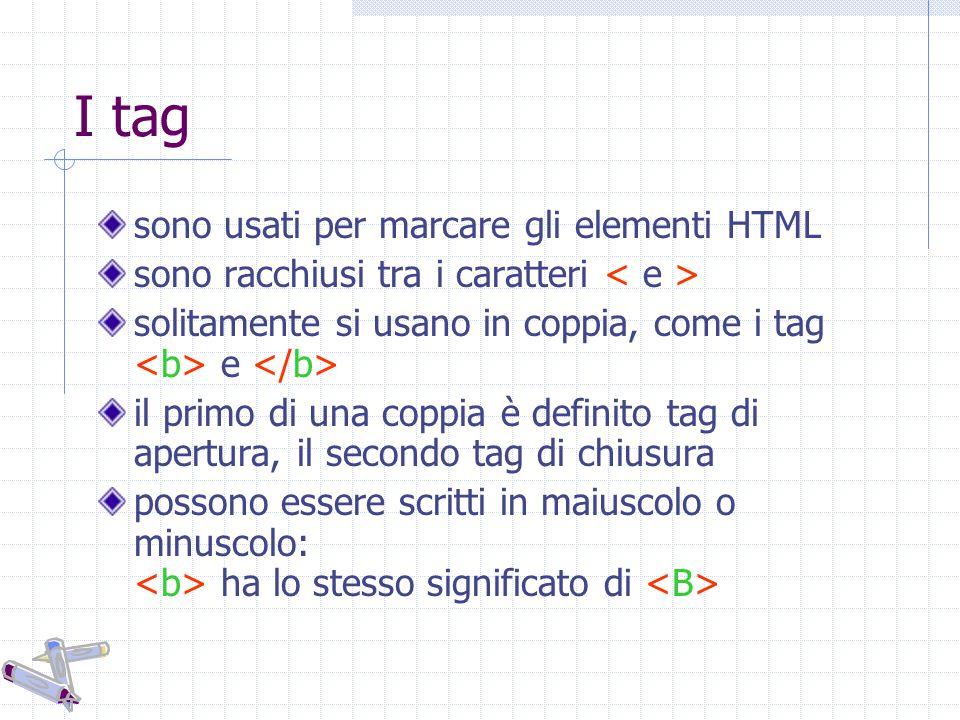 I tag sono usati per marcare gli elementi HTML sono racchiusi tra i caratteri solitamente si usano in coppia, come i tag e il primo di una coppia è definito tag di apertura, il secondo tag di chiusura possono essere scritti in maiuscolo o minuscolo: ha lo stesso significato di