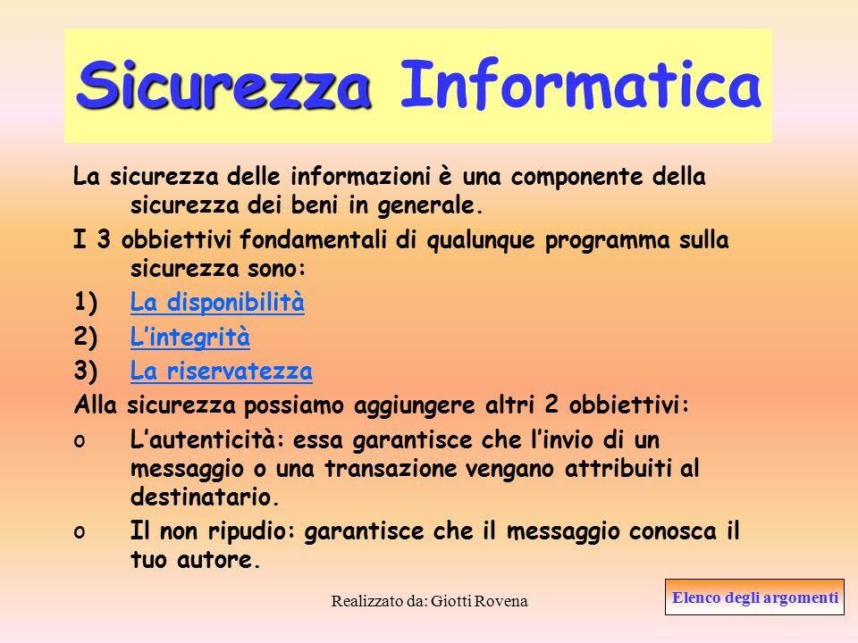 Realizzato da: Giotti Rovena La Disponibilità La disponibilità è il grado in cui le informazioni sono accessibili agli utenti.
