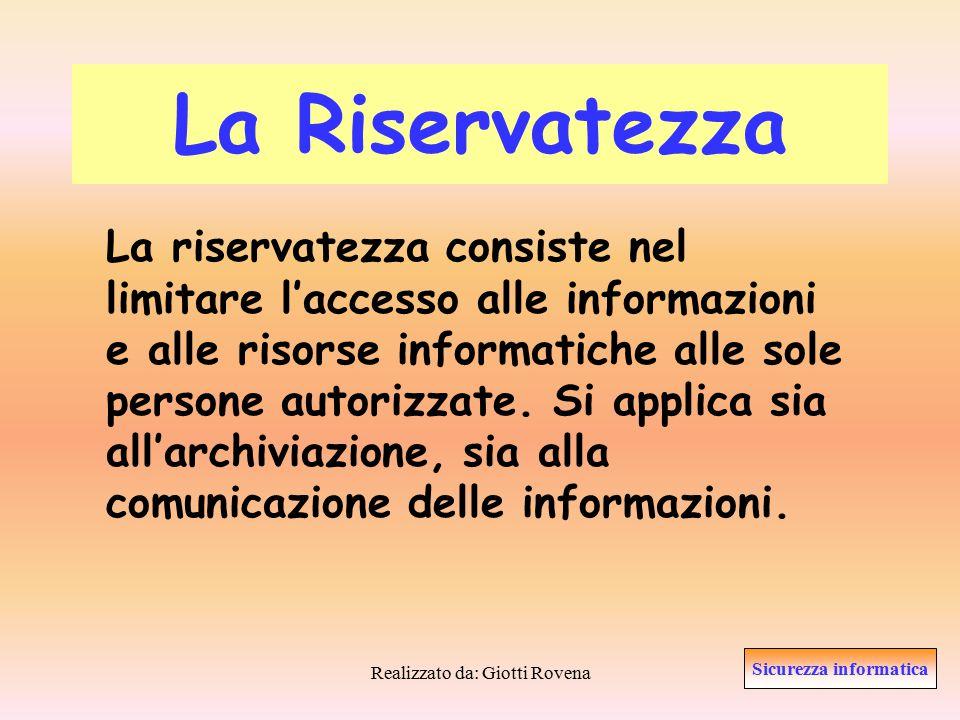 Realizzato da: Giotti Rovena Controllo del rischio In questa fase vengono individuate le modalità che l'azienda intende adottare per ridurre i rischi associati alla perdita della disponibilità delle informazioni.