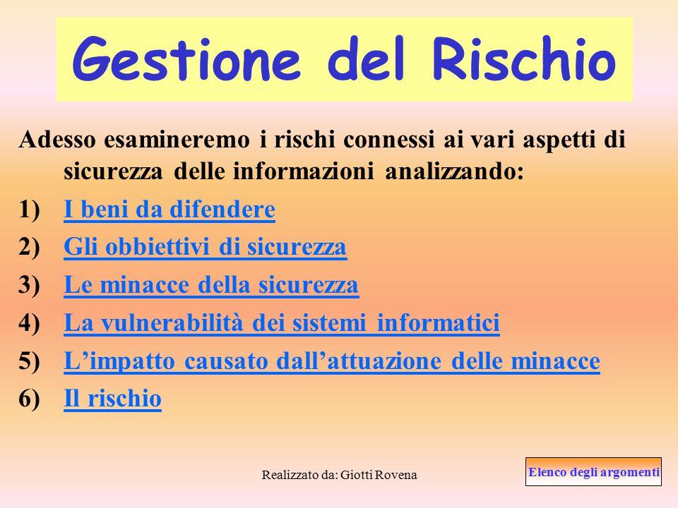 Realizzato da: Giotti Rovena Organizzazione della sicurezza La sicurezza delle informazioni è il risultato di un insieme di processi ai vari livelli dell'organigramma aziendale.