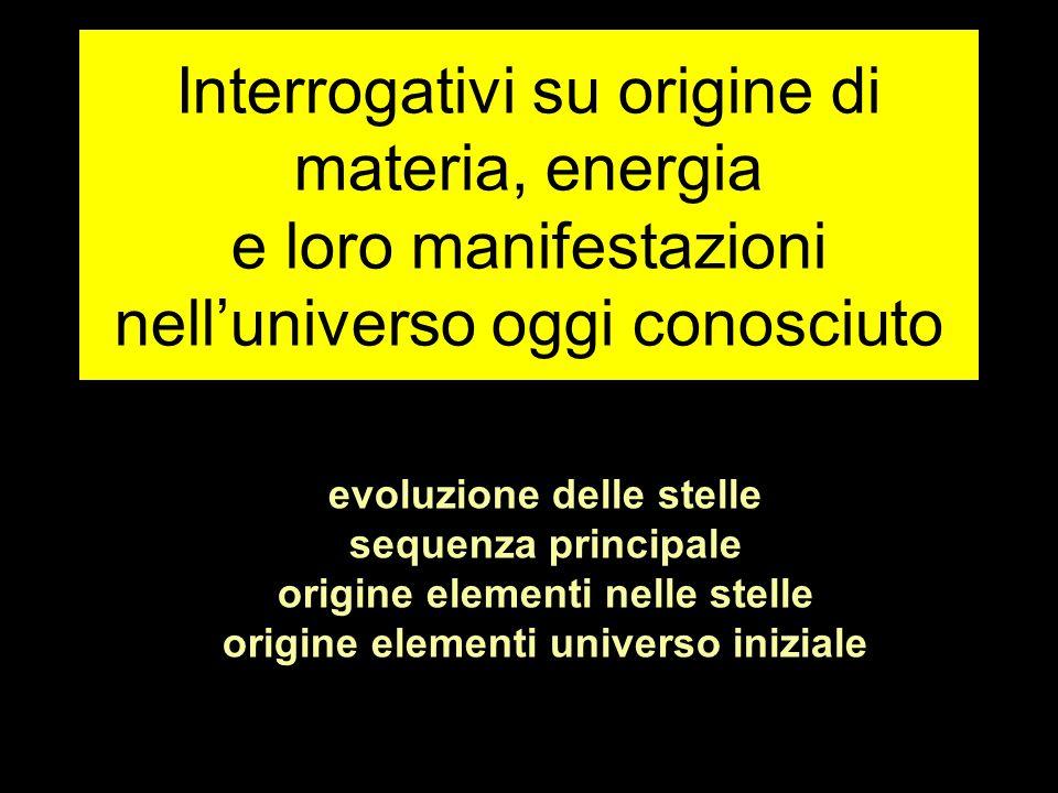 Interrogativi su origine di materia, energia e loro manifestazioni nell'universo oggi conosciuto evoluzione delle stelle sequenza principale origine elementi nelle stelle origine elementi universo iniziale