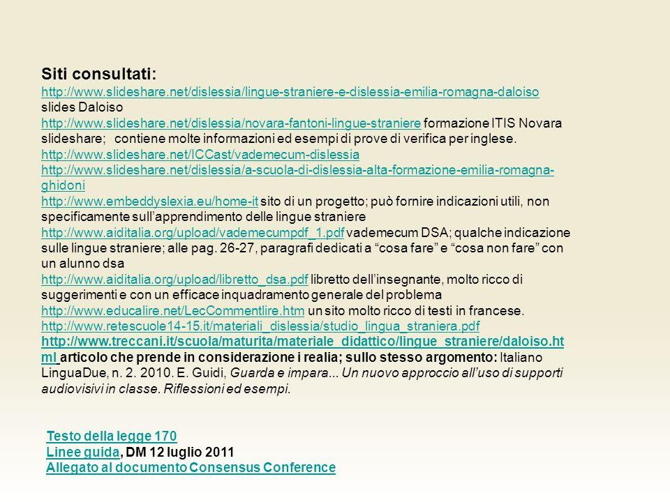 Siti consultati: http://www.slideshare.net/dislessia/lingue-straniere-e-dislessia-emilia-romagna-daloiso http://www.slideshare.net/dislessia/lingue-straniere-e-dislessia-emilia-romagna-daloiso slides Daloiso http://www.slideshare.net/dislessia/novara-fantoni-lingue-stranierehttp://www.slideshare.net/dislessia/novara-fantoni-lingue-straniere formazione ITIS Novara slideshare; contiene molte informazioni ed esempi di prove di verifica per inglese.