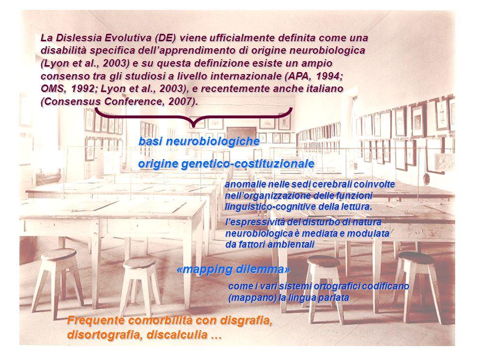 La Dislessia Evolutiva (DE) viene ufficialmente definita come una disabilità specifica dell'apprendimento di origine neurobiologica (Lyon et al., 2003) e su questa definizione esiste un ampio consenso tra gli studiosi a livello internazionale (APA, 1994; OMS, 1992; Lyon et al., 2003), e recentemente anche italiano (Consensus Conference, 2007).