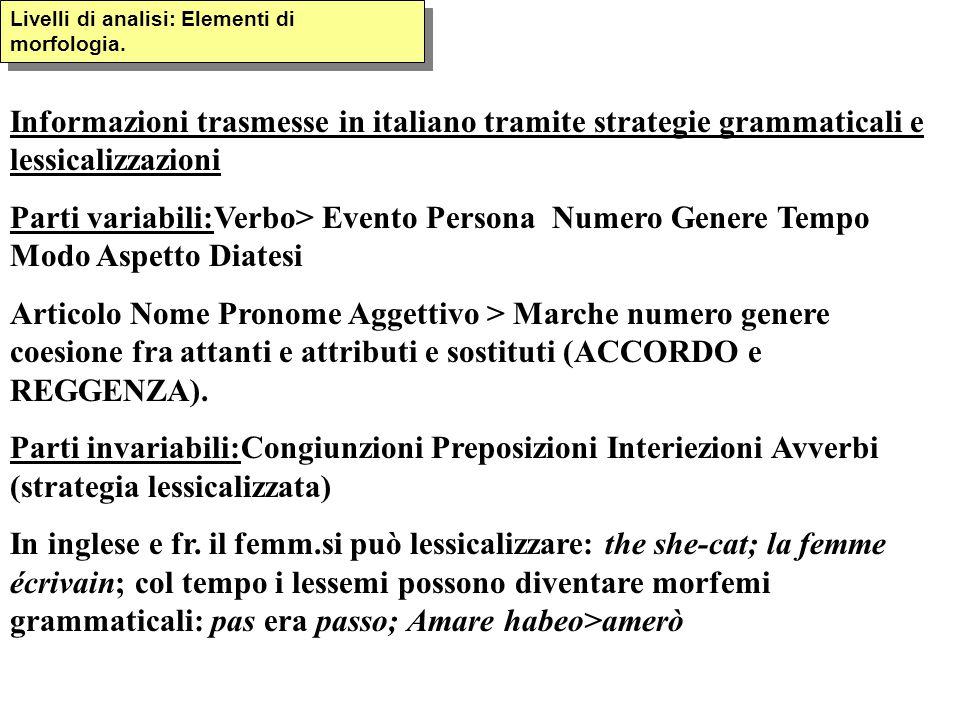 Livelli di analisi: Elementi di morfologia. Informazioni trasmesse in italiano tramite strategie grammaticali e lessicalizzazioni Parti variabili:Verb