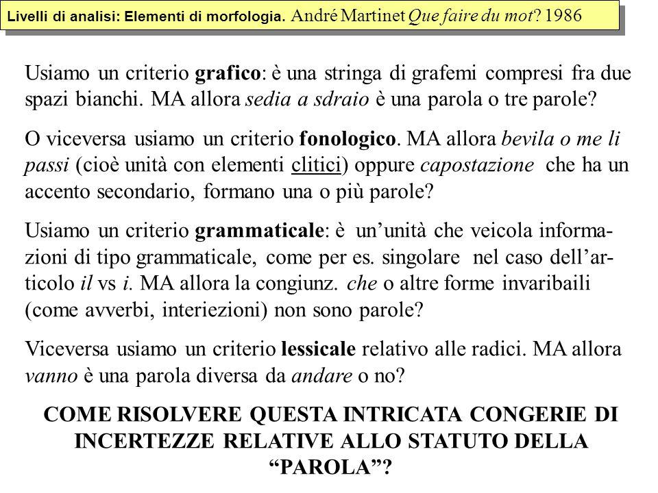 Livelli di analisi: Elementi di morfologia. André Martinet Que faire du mot? 1986 Usiamo un criterio grafico: è una stringa di grafemi compresi fra du