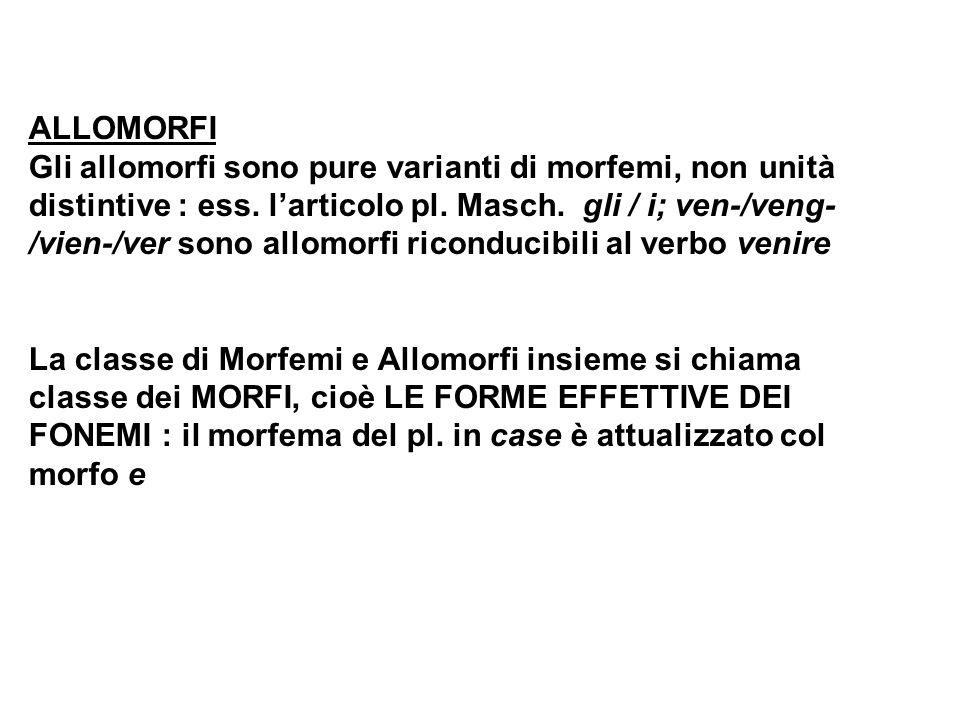 ALLOMORFI Gli allomorfi sono pure varianti di morfemi, non unità distintive : ess. l'articolo pl. Masch. gli / i; ven-/veng- /vien-/ver sono allomorfi