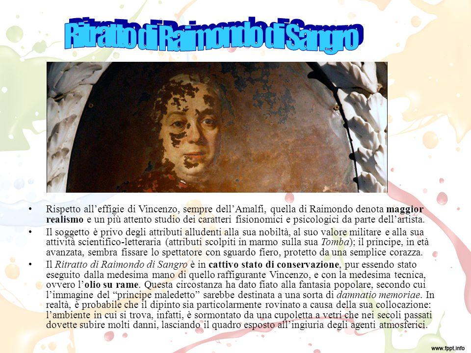Rispetto all'effigie di Vincenzo, sempre dell'Amalfi, quella di Raimondo denota maggior realismo e un più attento studio dei caratteri fisionomici e psicologici da parte dell'artista.