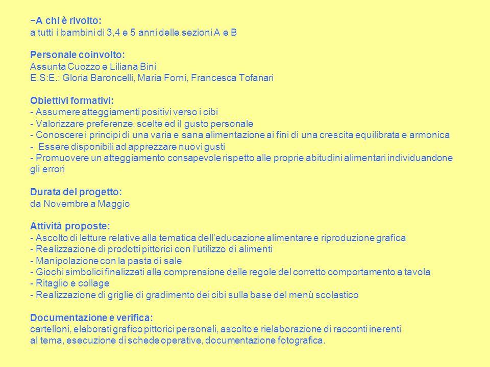 −A chi è rivolto: a tutti i bambini di 3,4 e 5 anni delle sezioni A e B Personale coinvolto: Assunta Cuozzo e Liliana Bini E.S:E.: Gloria Baroncelli,