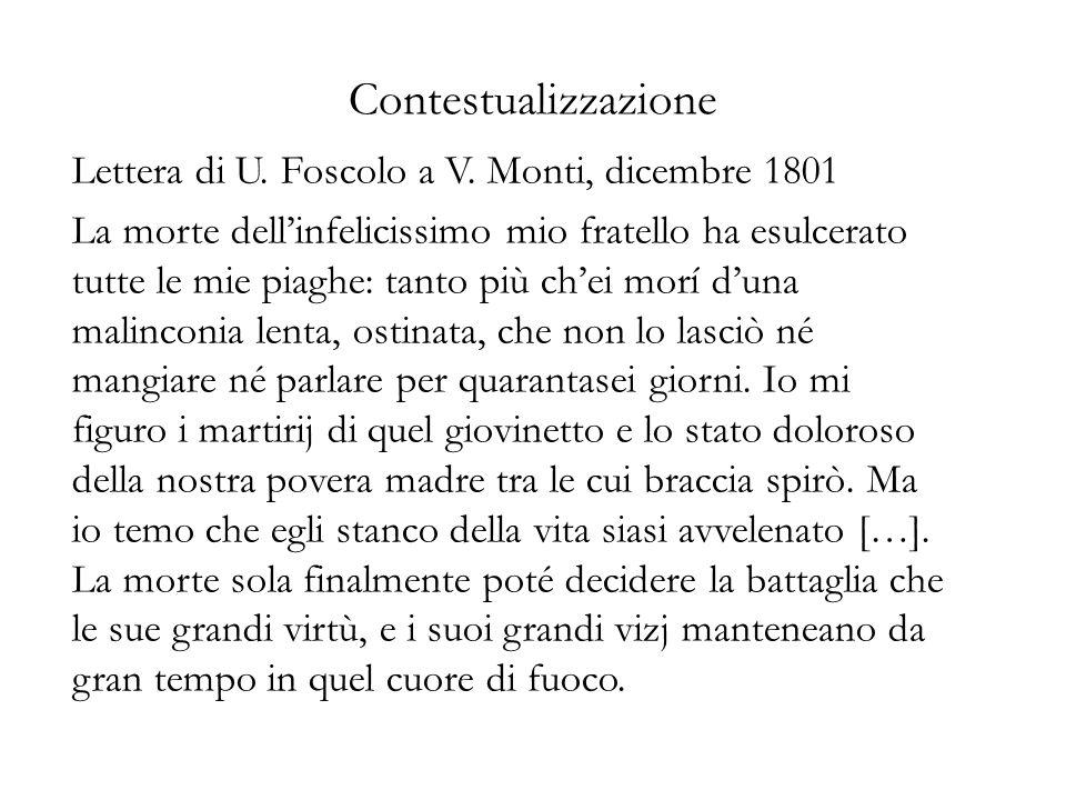 Contestualizzazione Lettera di U. Foscolo a V. Monti, dicembre 1801 La morte dell'infelicissimo mio fratello ha esulcerato tutte le mie piaghe: tanto